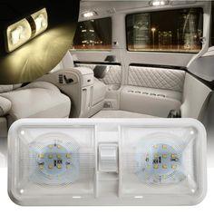 Ganda Dome Cahaya 12 V 48 LED Roof Ceiling Interior Membaca Untuk RV Perahu Untuk Camper Trailer Plastik 1 PC putih