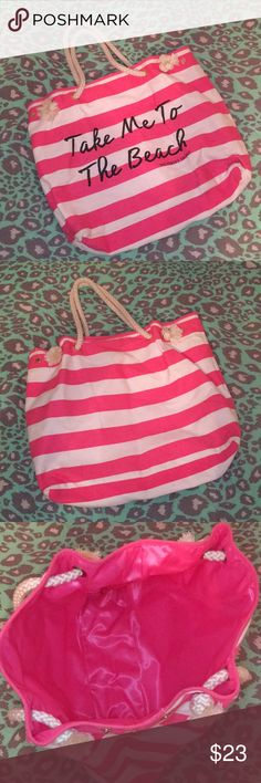 "VS PINK ""Take Me To The Beach"" Tote VS PINK ""Take Me To The Beach"" Tote. Pink and white stripes. Canvas outside. Rope handles. Comfy. Inside is a wipeable material. Minor marks on the outside. PINK Victoria's Secret Bags"