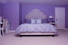 Purple Girls Bedroom - this is the color purple I would want. Purple Bedroom Walls, Purple Bedroom Design, Purple Bedrooms, Accent Wall Bedroom, Girls Bedroom, Accent Walls, Teen Room Designs, Bedroom Wall Designs, Cool Beds