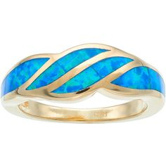 14k Gold Over Silver Lab-Created Blue Opal Wave Ring (880 EGP) ❤ liked on Polyvore featuring jewelry, rings, blue, opal rings, blue opal jewelry, 14k ring, blue gold ring and 14k gold ring