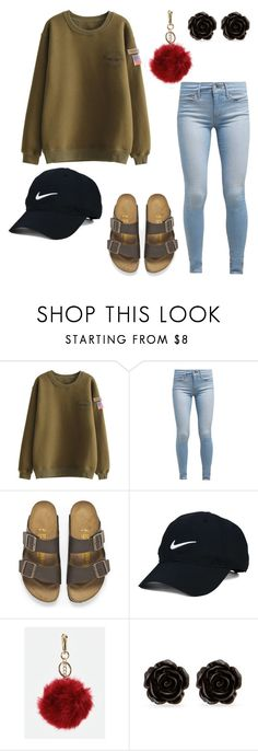 """""""Chilling"""" by sweet-brownsuga ❤ liked on Polyvore featuring Levi's, Birkenstock, Nike Golf, JustFab and Erica Lyons"""