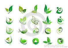 Leaf logo,nature green ecology and wellness people,beauty spa,symbol icon set of vector designs