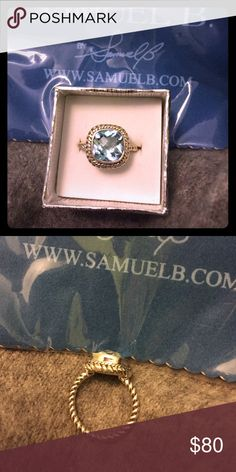 SAMUEL B Blue Topaz S.S. Artesian Ring-Size 7 .925 Solid Sterling Silver Ring with Natural Blue Topaz Stone. Retails for $140 Samuel B Jewelry Rings