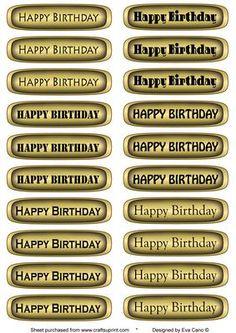 Happy Birthday tags in gold horizontal on Craftsuprint by designer Eva Cano