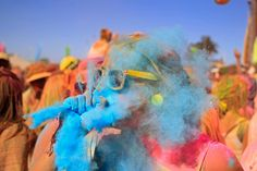 Holi One Color Festival. South Africa. People throw colored powder at each other to express freedom and the color of everyday life.