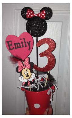Minnie Mouse Party centerpiece personalized by RaeofSunshinedesign - Baby shower? Minie Mouse Party, Minnie Mouse Theme Party, Mickey Mouse Clubhouse Birthday, Mickey Birthday, Mickey Party, Mouse Parties, Minnie Mouse Birthday Decorations, Kids Birthday Themes, 3rd Birthday Parties