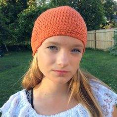 Orange beanie hat crochet by Flossymaycrochet on Etsy