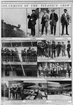 A page from a feature in The Graphic, following the homecoming of the 167 surviving crew of the White Star liner Titanic, which sank on 15th April 1912, as they arrived at Plymouth on the SS Lapland, 4th May 1912.