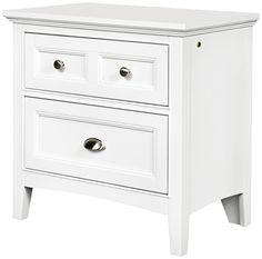 "Kenley 3-Drawer White Nightstand -   White finish nightstand.  Wood construction.  3-drawer design.  Nickel drawer handles.  26"" high.  26"" wide.  16"" deep.  $371"