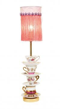 Repurpose china into a lamp DIY.  I like the idea of the stacking teacups and saucers but don't like the lampshade.