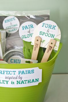 "Gift Idea:  ""Perfect Pairs"": A bridal shower gift basket.  Link has the printable tags to download."