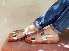 Metallische Sandalen aus echtem Silber Leder - weitere Farben erhältlich
