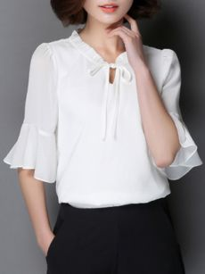 New Women's Chiffon Shirt Summer 2017 Fashion Casual All-match Solid Color Pleat Collar Slim Chiffon Blouse Female Beautiful Blouses, Chiffon Shirt, Blouse Styles, Work Attire, Corsage, Blouses For Women, Cowl Neck, Womens Fashion, Outfits