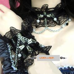 2 Piece Black Lace Victorian Gothic Fashion Cross Chains Chokers w/ Wristbands SKU-71110032