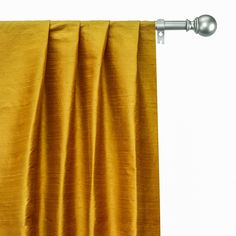 Drapery Panels, Panel Curtains, Yellow Fabric, Silk Fabric, Types Of Window Treatments, Blue Cushion Covers, Blue Bedding, Custom Curtains, Box Pleats