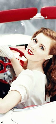 Amy Adams 50s portrait in a convertible auto wearing white gloves