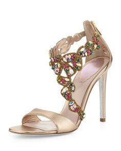 Crystal-Covered Asymmetric Sandal, Beige by Rene Caovilla at Bergdorf Goodman. Rene Caovilla, Stilettos, High Heels, Pumps, Heeled Boots, Shoe Boots, Colorful Wedding Shoes, Zapatos Shoes, Shoes Sandals