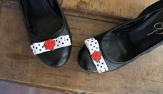 Olivia Paige - Pin up Rose Polka dot rockabilly  shoe clips