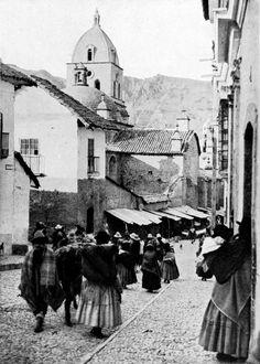 Native Indians in La Paz, Bolivia, 1921 by K. V. Gizycki