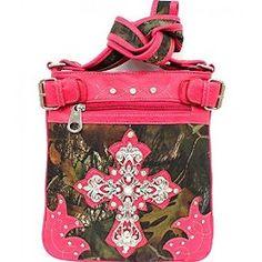 Pink Camouflage Cross Rhinestone Messenger Handbag In Stock: $45