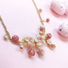 🌿🌸 Spring In Bloom 🌸🌿 The Cherry Blossom Statement Necklace is the perfect Spring pop of colour. Color Pop, Colour, True Beauty, Cherry Blossom, Pearl Necklace, Bloom, Hand Painted, Jewels, Jewellery