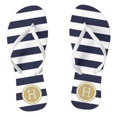 925b70264837 Navy and Gold Preppy Stripes Monogram Flip Flops Navy Blue Sandals