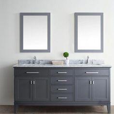 decoration a bathroom Double Sink Bathroom, Single Bathroom Vanity, Bathroom Vanities, Bathroom Ideas, Double Sink Vanity, Bathroom Designs, Grey Bathroom Cabinets, Bathroom Makeovers, Bathroom Countertops