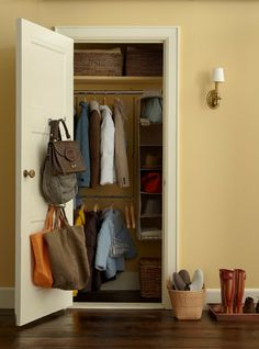 Use entry hall closet space wisely. You can double hanging space with an adjustable closet rod expander.  Perfect when you have a lot of guests.  Hanging organizers create cubbies for hats and bags and long projection hooks mounted on the door hold oversized totes.
