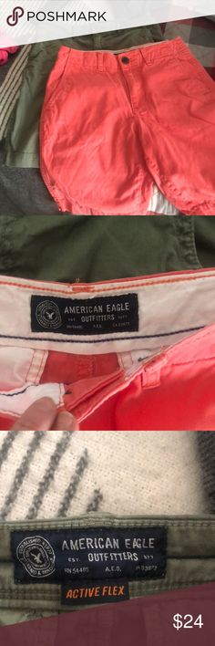 American Eagle men's/boys shorts 2 pair of brand new shorts... one pair Classic( orange color) one pair.. active flex..green pair American Eagle Outfitters Shorts Flat Front