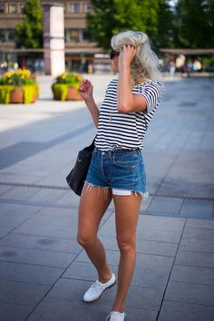 Black and white striped shirt and shorts