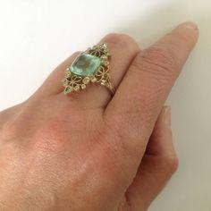 Dalben 4.50 Carat Aquamarine Diamond Gold Ring image 9