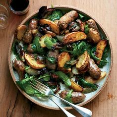 Sausage-and-Potato Pan Roast   This easy sweet sausage and mixed potato pan roast takes only 20 minutes to pull together. Get the recipe at Food & Wine.