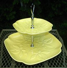 60s Vintage MOD Two Tiered USA Lemon Yellow Ceramic Floral Serving Tray