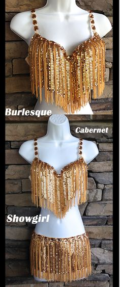 GOLD GLAM! Metal mesh bra and skirt with big gem detail and fringe. Perfect burlesque, showgirl, cabernet or even belly dancing outfit!