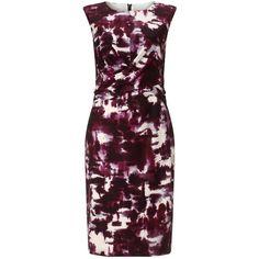 Phase Eight Bruges Print Dress, Multi (2,035 MXN) ❤ liked on Polyvore featuring dresses, purple knee length dress, pencil dress, wrap dress, sleeveless wrap dress i sleeve maxi dress