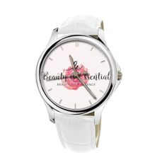 Beauty Is Essential Premium Fashion Watch With White Genuine Leather