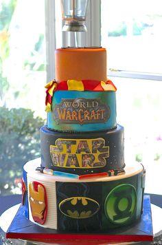 comic book, star wars, world of warcraft, harry potter wedding cake by Sugar…