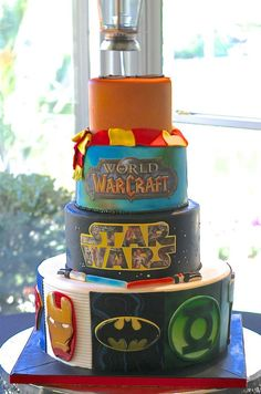 comic book, star wars, world of warcraft, harry potter wedding cake by Sugar Therapy