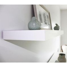 Home Decorators Collection, in. L White Square Edge Floating Wood Wall Shelf, 0191408 at The Home Depot - Tablet Wood Wall Shelf, Floating Wall Shelves, White Shelves, Contemporary Shelving, Built In Bookcase, Bookcases, Empty Wall Spaces, Light Grey Walls, Organizing Your Home