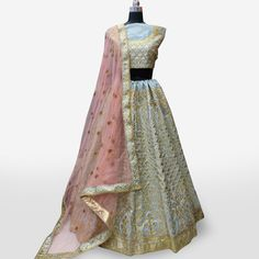 Buy Refreshing Gray Colored Partywear Embroidered Mulberry Silk Lehenga Choli at Rs. Get latest Lehengas for womens at Peachmode. Lehenga Collection, Silk Lehenga, Mulberry Silk, Gray Color, India, Blouse, Grey, Stuff To Buy, Dresses