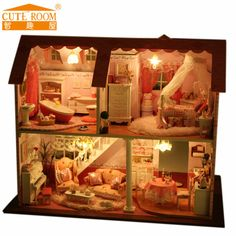 Decoração artesanato DIY casa de boneca de madeira casas de boneca mini casa de bonecas DIY mini móveis luzes de LED presente A003(China (Mainland))