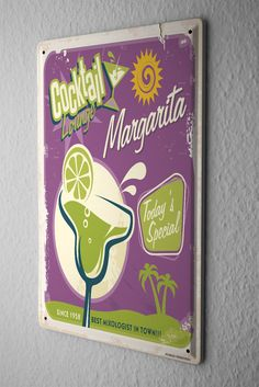Tin Sign Party Retro Cocktail Margarita Bar Pub Restaurant