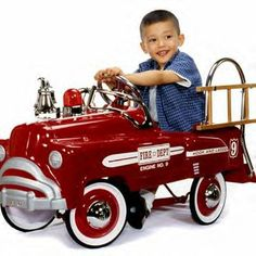 """Deluxe Fire Engine Truck Pedal Car by American Retro      Inspired by the famous and highly collectible """"sad face"""" pedal Fire Truck of the 1940's, it is true in all details. There is no tailgate, but a rear step just like the originals."""