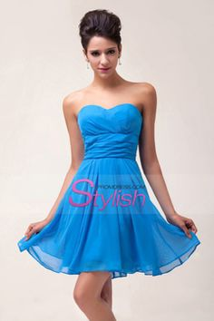 2015 Pure Sweetheart A Line Chiffon Short/Mini Homecoming Dress With Ruffles Lace Up Bridesmaid Dresses 2017, Royal Blue Prom Dresses, Cheap Homecoming Dresses, Party Gowns, Wedding Party Dresses, Plus Size Formal Dresses, Strapless Dress Formal, Chiffon, Ruffles