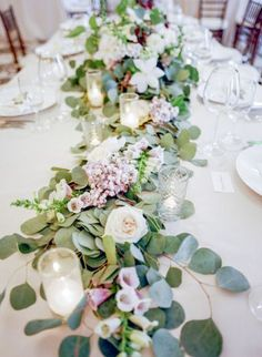 Spring wedding centerpieces - 25 Chic Spring Table Runners To Try – Spring wedding centerpieces Spring Wedding Centerpieces, Spring Wedding Flowers, Floral Wedding, Wedding Decorations, Table Decorations, Rustic Wedding, Wedding Reception, Wedding Ideas, Wedding Themes