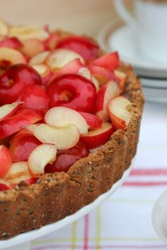 Cherry Tart with coconut flour, almond meal, quinoa flour and chia seeds for the crust from Hogwash Healthy Desserts, Just Desserts, Delicious Desserts, Healthy Food, Gluten Free Pie, Gluten Free Desserts, Yummy Treats, Sweet Treats, Dessert Pizza