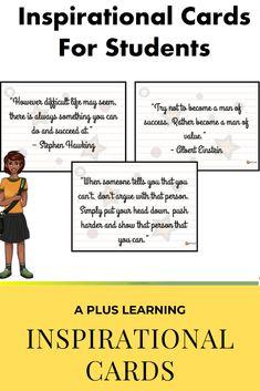 Inspirational Cards For Students School Resources, Classroom Resources, Classroom Organization, Classroom Management, School Stuff, Back To School, Teaching Posts, My Teacher, Self Esteem