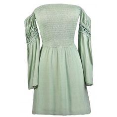 Cute Sage Green Dress, Sage Off Shoulder Dress, Cute Fall Dress