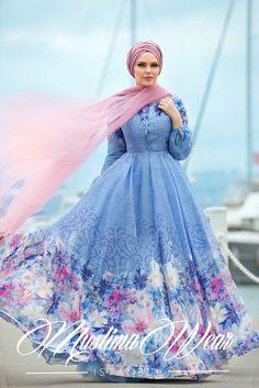 Muslima Wear 2016 - Giardino Chiffon Blue Dress