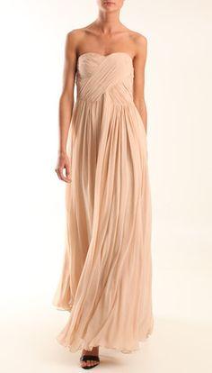 $750 NWT Tibi Pleated Silk Chiffon Strapless Draped Maxi Dress Gown Nude 6 S   eBay